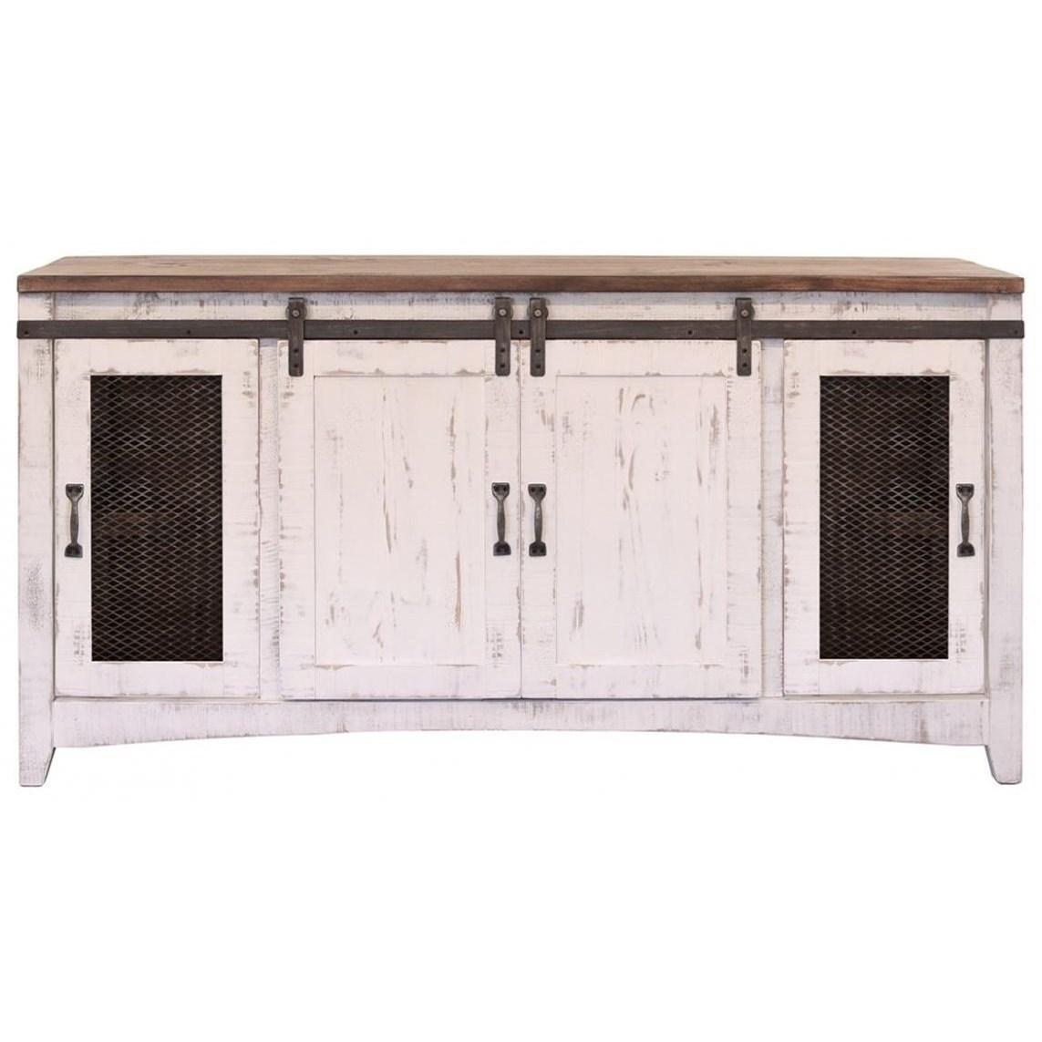 International Furniture Direct Pueblo TV Stand With Four Doors
