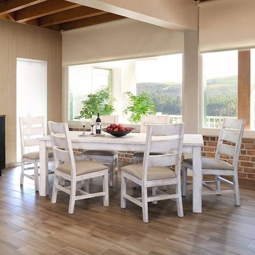 International Furniture Direct Pueblo Rustic Table and Six Chair Dining Set