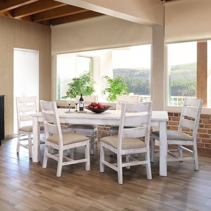 International Furniture Direct PuebloTable and Six Chair Set