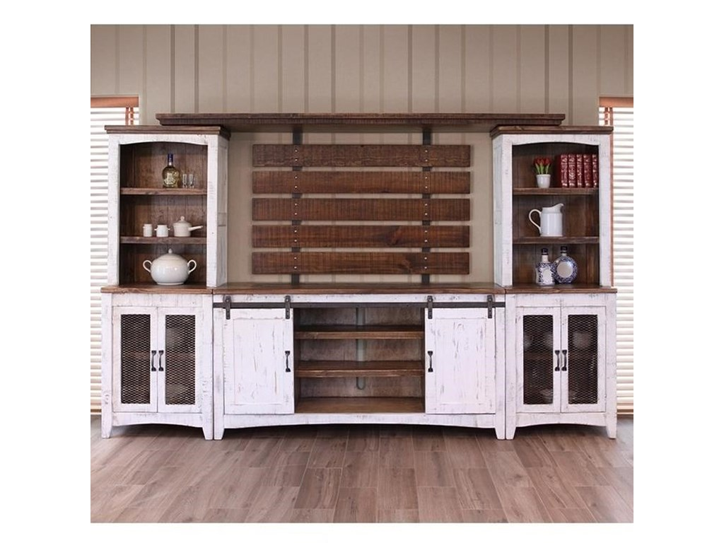 Pueblo Wall Unit With Distressed Finish By International Furniture Direct