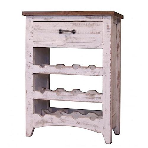 International Furniture Direct Pueblo Rustic Wine Rack with 3 Racks