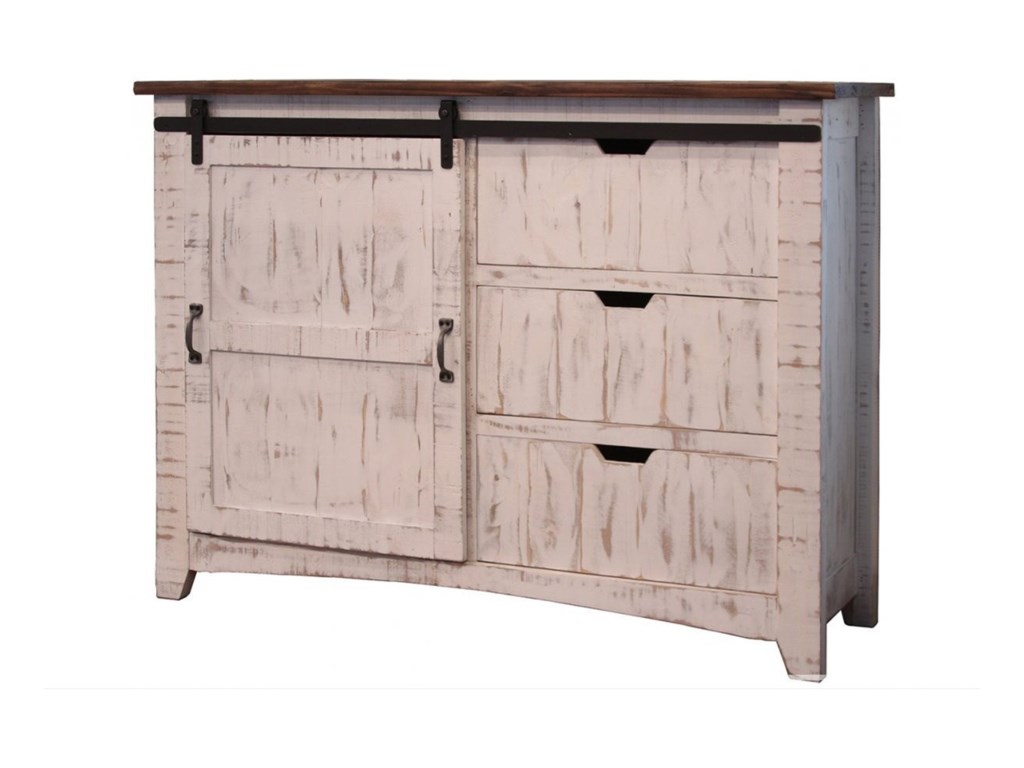 International Furniture Direct PuebloChest w/ 3 Drawers & 1 Sliding Door