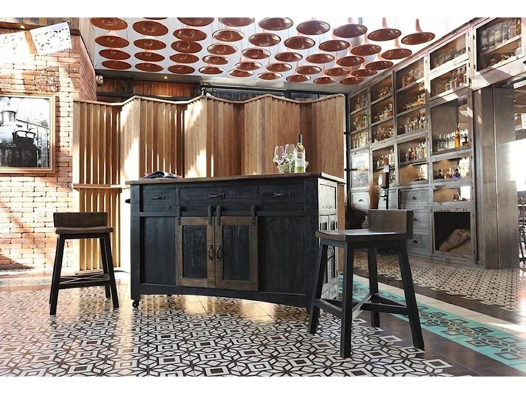International Furniture Direct PuebloBlack Kitchen Island
