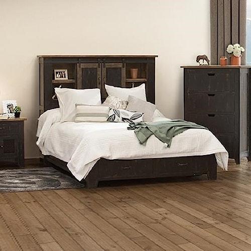 International Furniture Direct Pueblo Rustic King Storage Bed with Sliding Doors