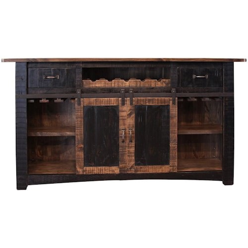 International Furniture Direct Pueblo Wooden Bar with Iron footrest
