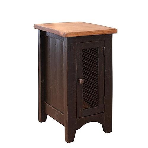 International Furniture Direct Pueblo Rustic Chairside Table with Mesh Panel Door
