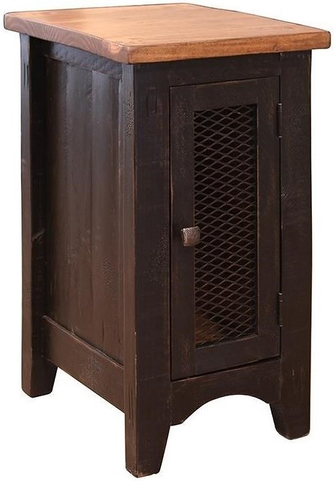 International Furniture Direct Pueblo Rustic Chairside Table with Mesh Panel Door
