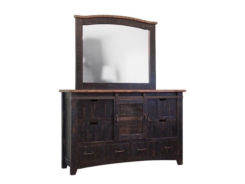 International Furniture Direct PuebloDresser and Mirror Set