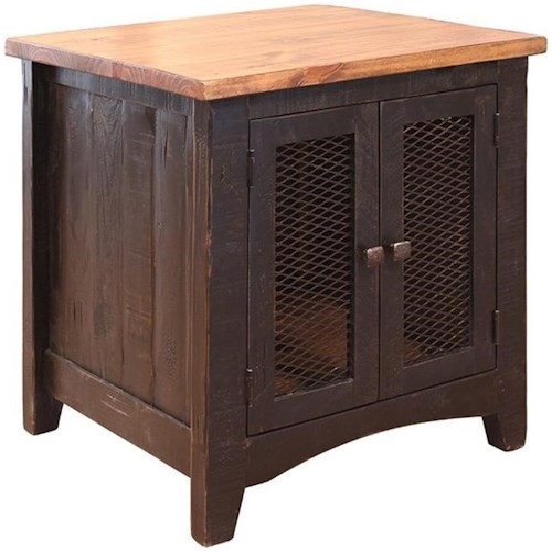 Artisan Home Pueblo Rustic End Table with Mesh Doors