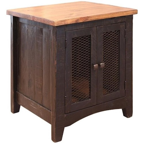 International Furniture Direct Pueblo Rustic End Table with Mesh Doors
