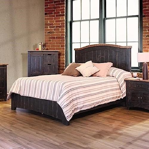 International Furniture Direct Pueblo Panel King Bed with Plank Design