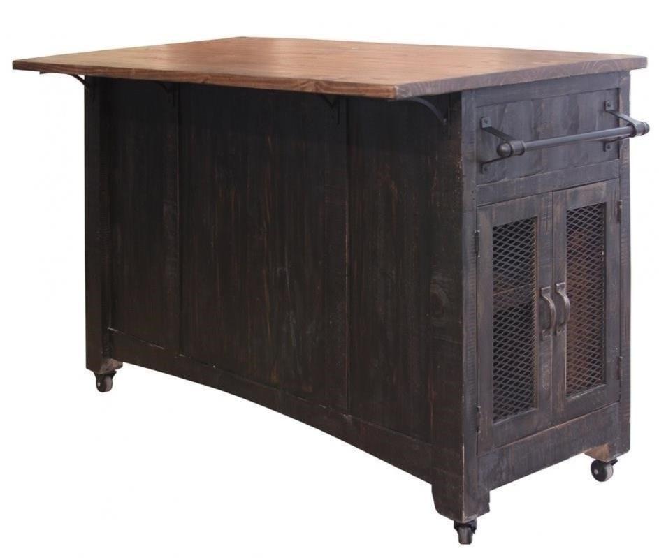 International furniture direct pueblo kitchen island with sliding doors
