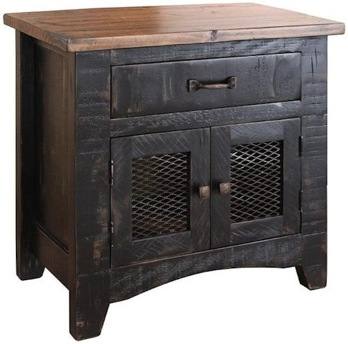 International Furniture Direct Pueblo Rustic Nightstand with Mesh Panel Doors