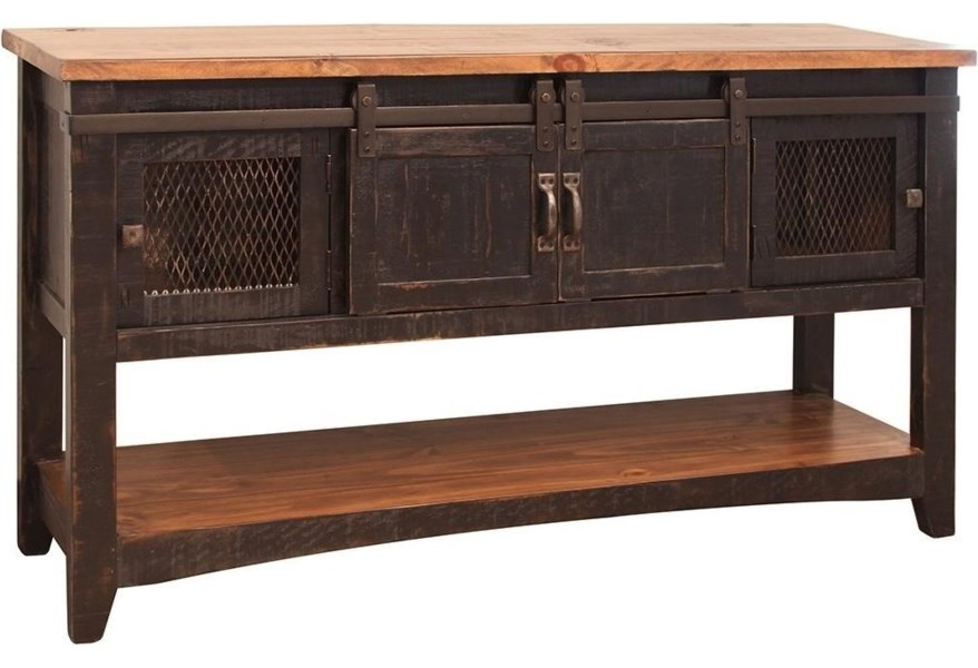 Pueblo Rustic Sofa Table With Mesh Panel Accents By Ifd International Furniture Direct At Suburban