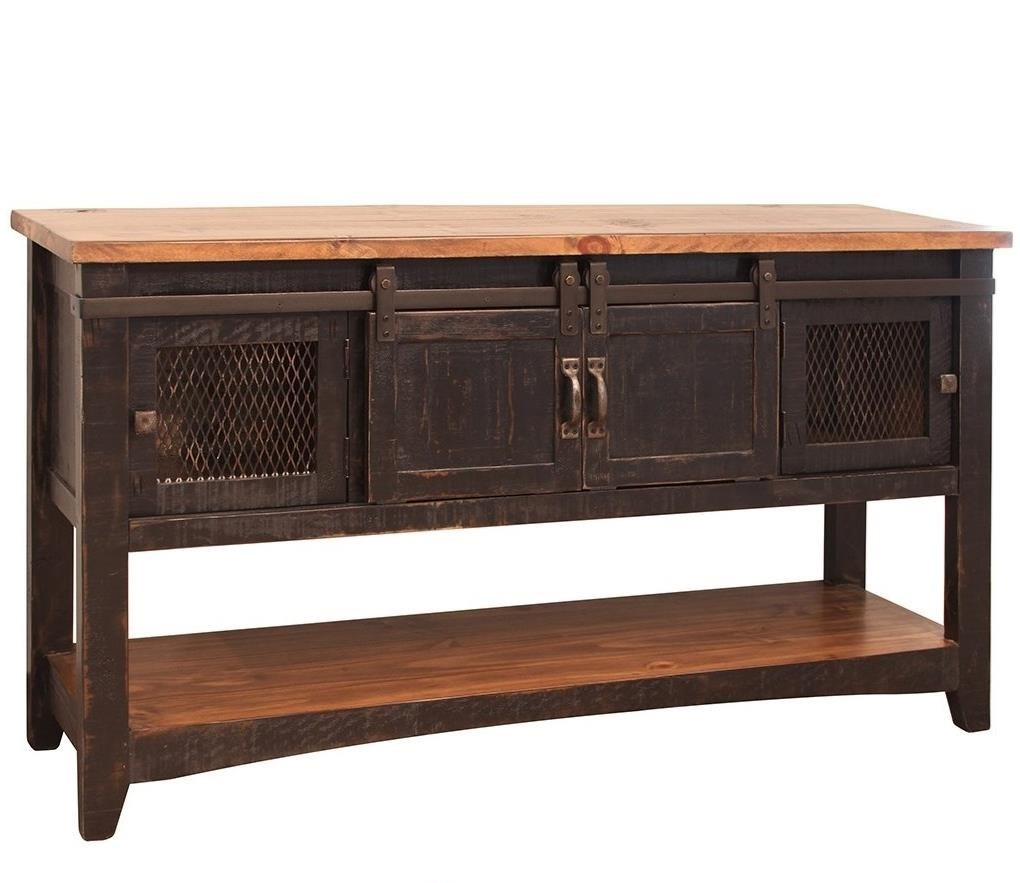 furniture direct pueblo rustic sofa table with mesh panel accents furniture and sofa