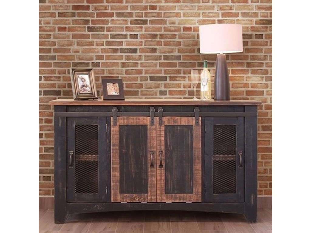 Pueblo 60 Tv Stand With Mesh Panel Doors By International Furniture Direct At Sheely S Furniture Appliance