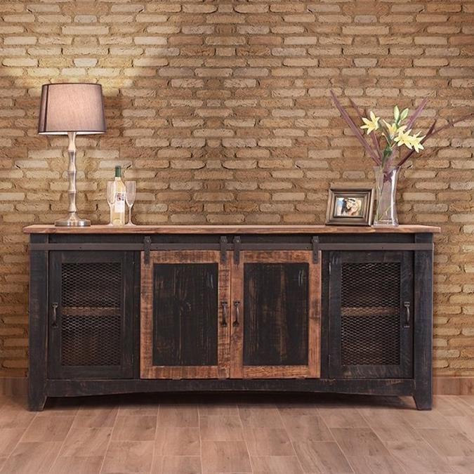 International Furniture Direct Pueblo  TV Stand with Mesh Panel