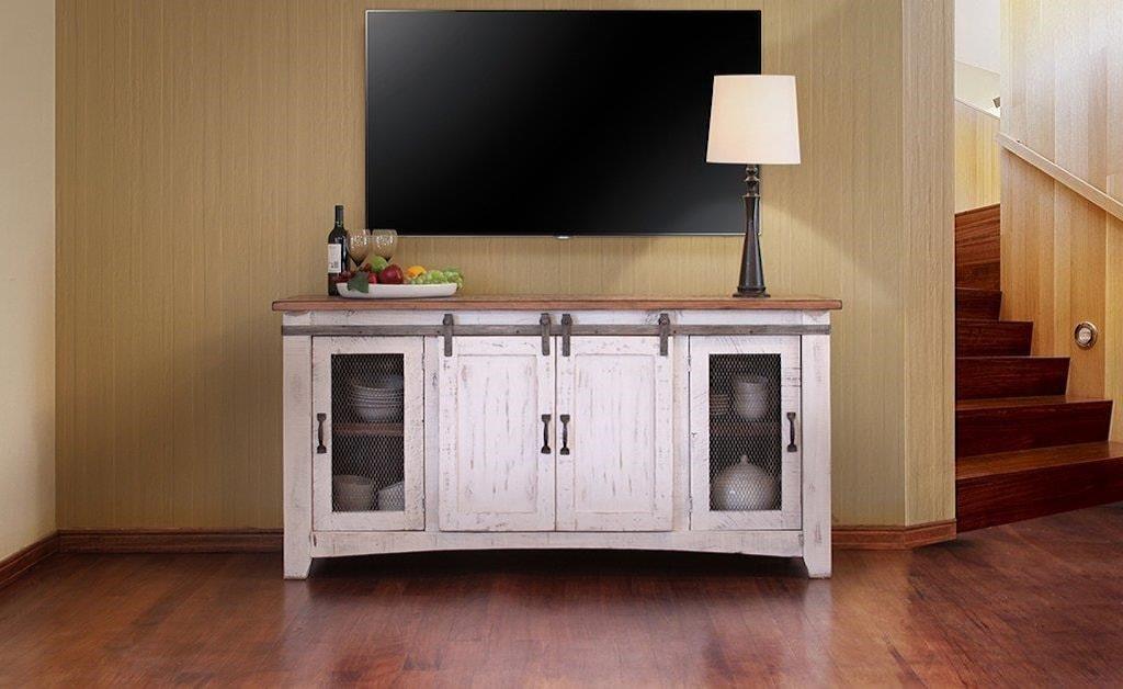 International Furniture Direct Pueblo White 70 Tv Stand Miskelly
