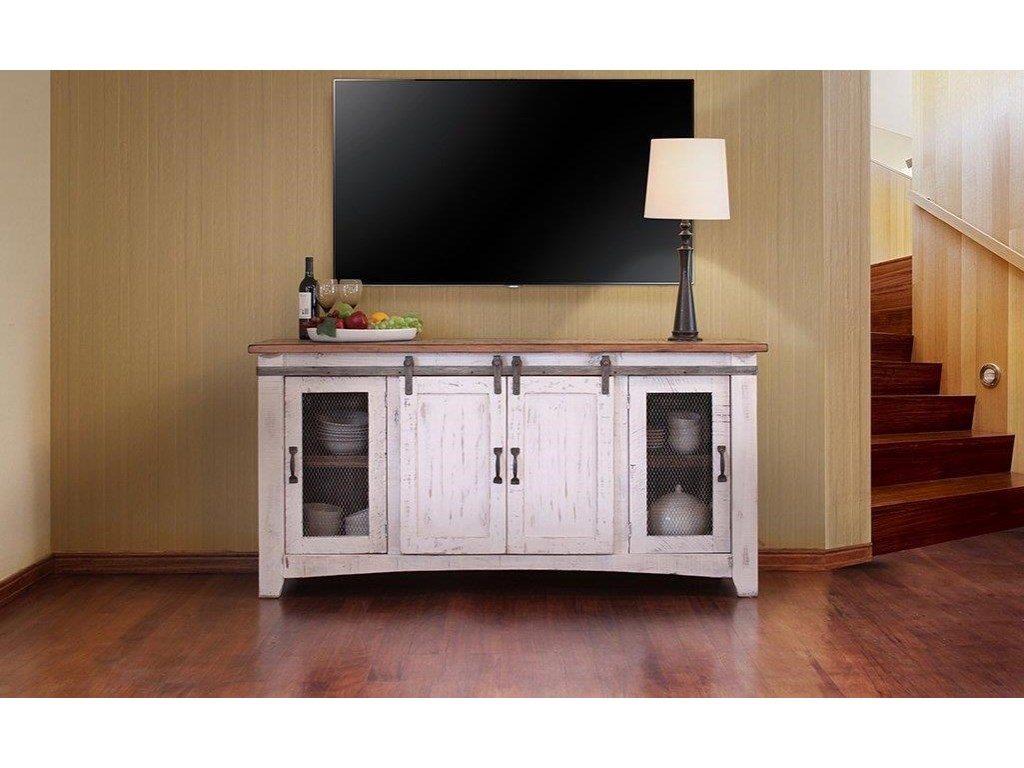 International Furniture Direct Pueblo White 70 Tv Stand