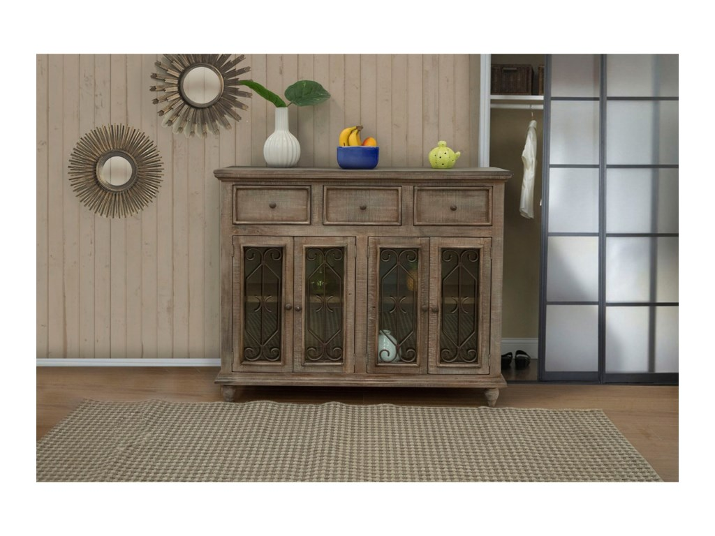 International Furniture Direct San AngeloConsole with 3 Drawers and 4 Glass Doors