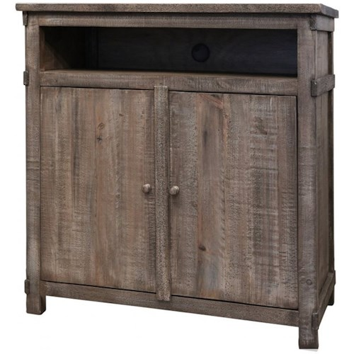 International Furniture Direct San Angelo Rustic Solid Wood 2 Door Media Chest