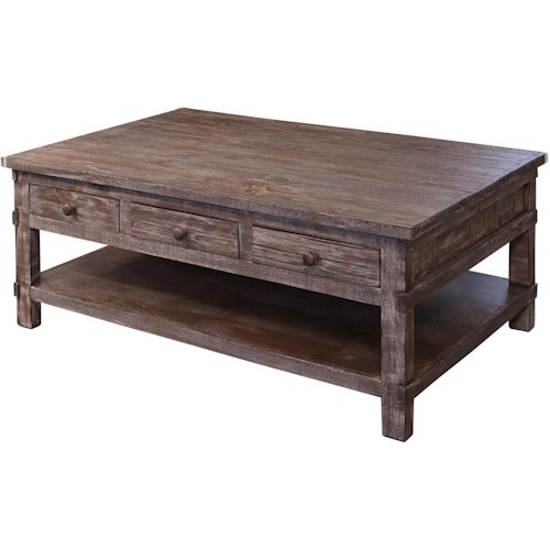 International Furniture Direct San Angelo Rustic Solid Wood 6 Drawer Cocktail Table