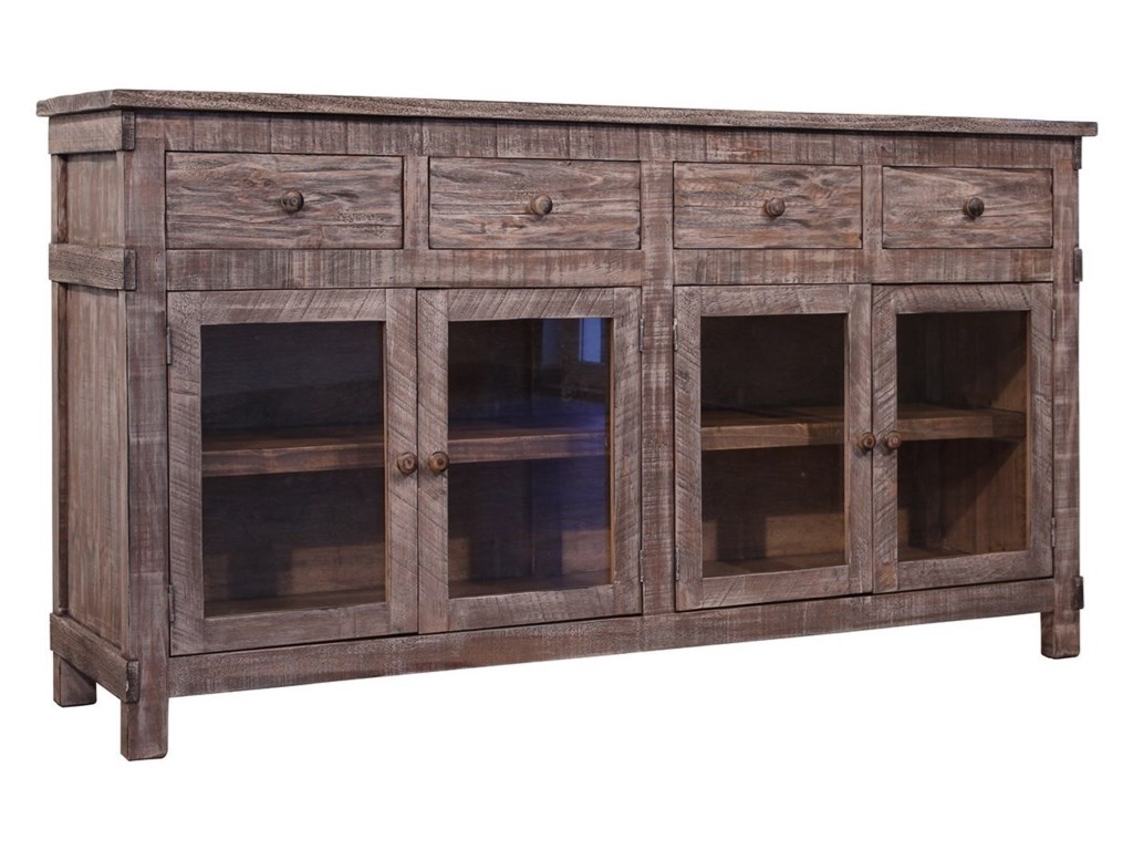 International Furniture Direct San AngeloConsole with 4 Drawers and 4 Glass Doors