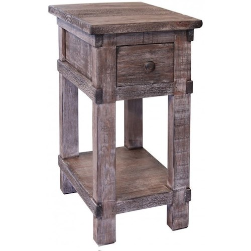 International Furniture Direct San Angelo Rustic Solid Wood 1 Drawer Chairside Table