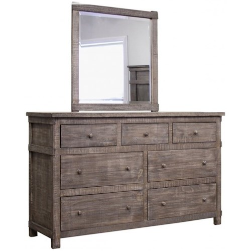 International Furniture Direct San Angelo Rustic Solid Wood 7 Drawer Dresser with Mirror