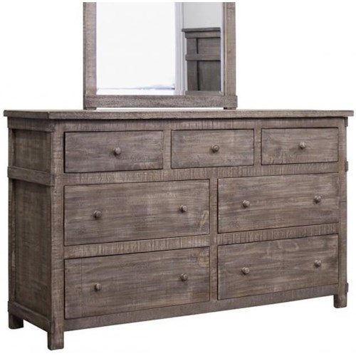 International Furniture Direct San Angelo Rustic Solid Wood 7 Drawer Dresser