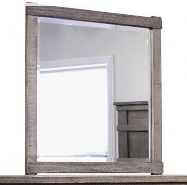 International Furniture Direct San Angelo Rustic Mirror with Solid Wood Frame