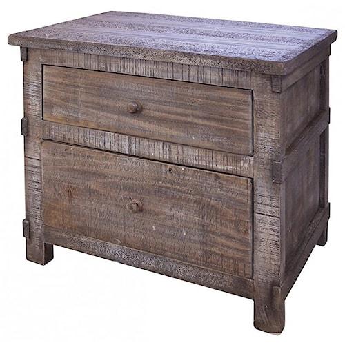 International Furniture Direct San Angelo Rustic Solid Wood 2 Drawer Nighstand