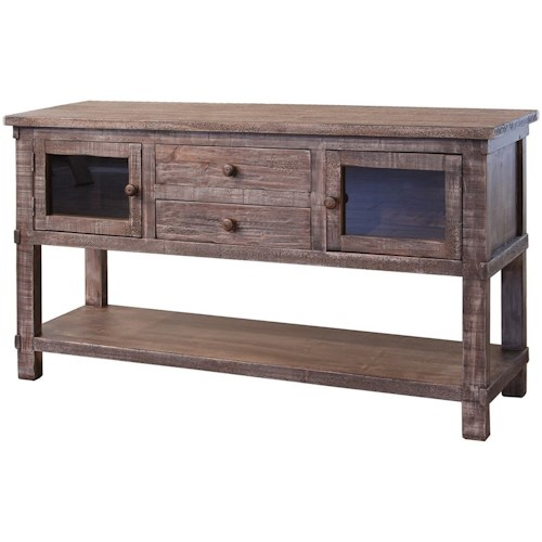 International Furniture Direct San Angelo Rustic Solid Wood 2 Drawer and 2 Door Sofa Table