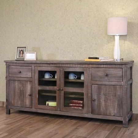 """80"""" TV Stand w/2 Drawers, 2 doors, 2 glass d"""