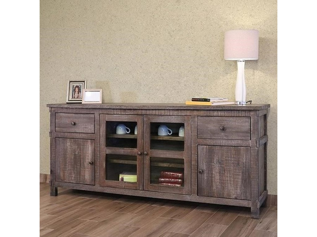 "International Furniture Direct San Angelo80"" TV Stand w/2 Drawers, 2 doors, 2 glass d"