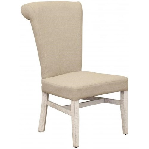 International Furniture Direct Bonanza Ivory Upholstered Side chair with Handle on Back Rest