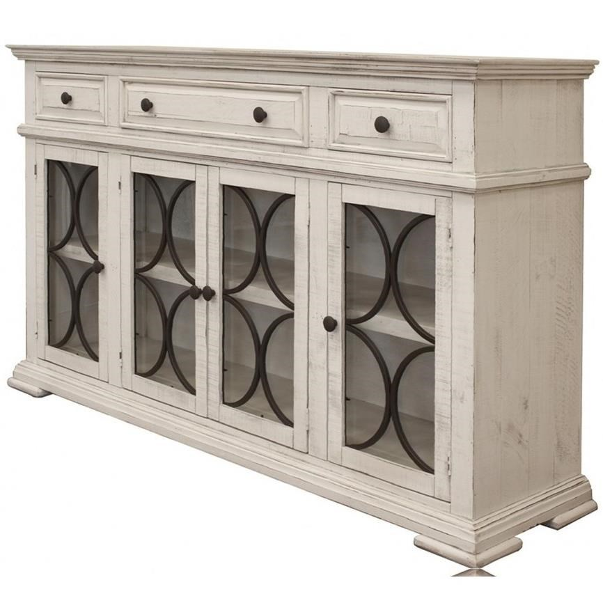 International furniture direct bonanza ivory 4 door sideboard with 3 drawers