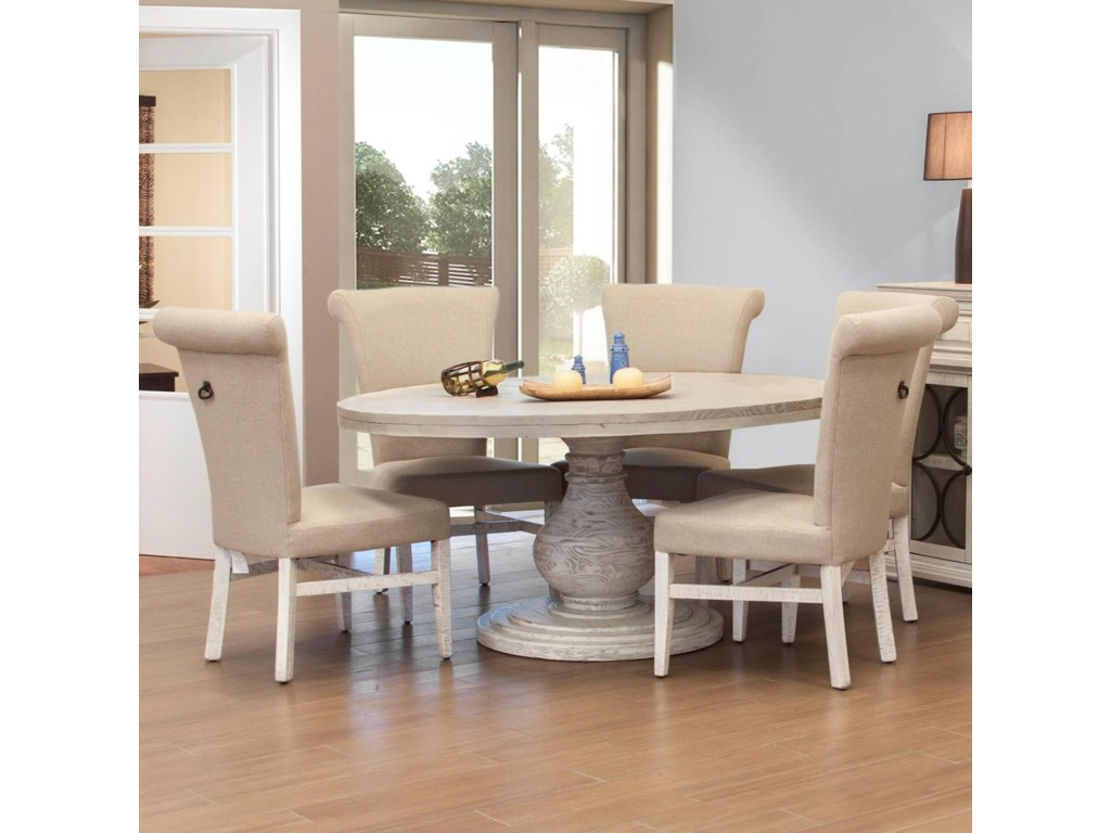 International Furniture Direct Bonanza Ivory6 Piece Table and Chair Set