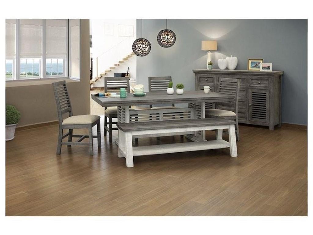 International Furniture Direct Stone7 PC Ding Room Set