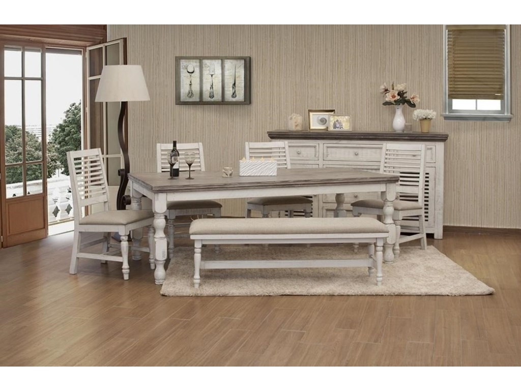 Muebles de Mexico StoneBreakfast Bench with Turned Legs