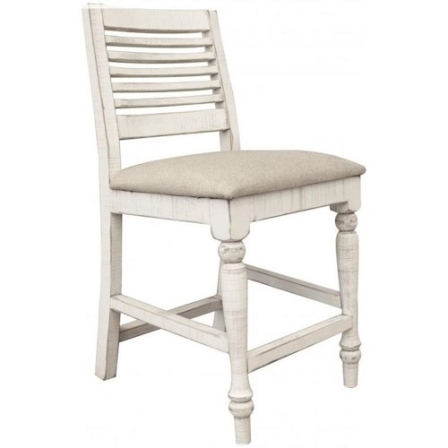 International Furniture Direct Stone Relaxed Vintage Bar Stool with Upholstered Seat