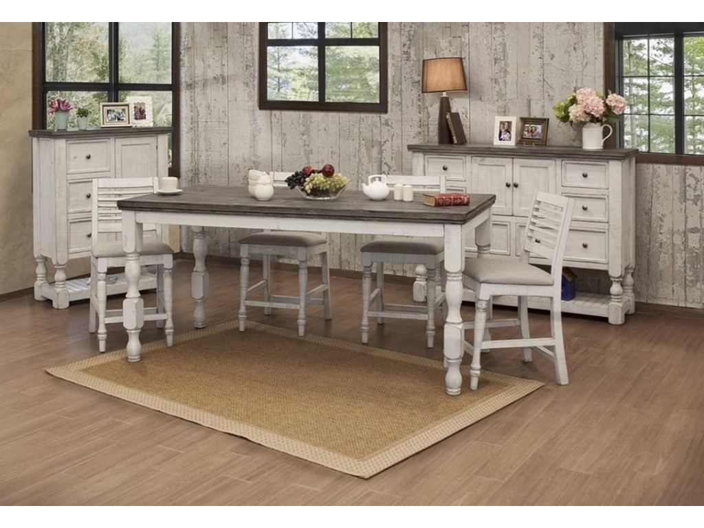 International Furniture Direct StoneCounter Table with Turned Legs