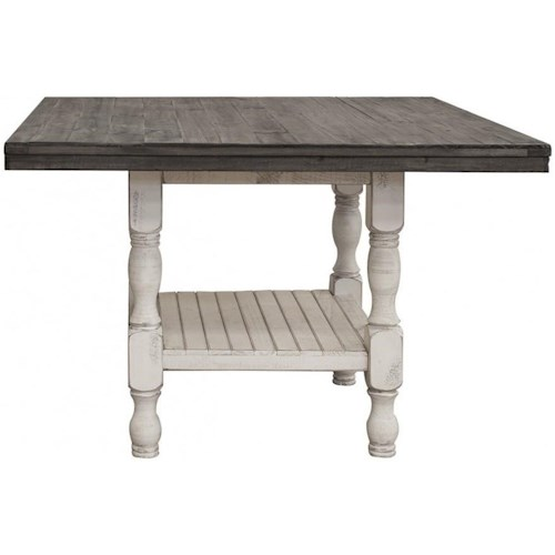 International Furniture Direct Stone Relaxed Vintage Square Gathering Height Table with Storage