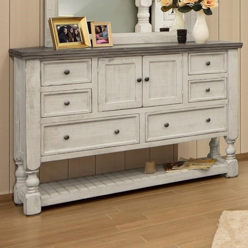 International Furniture Direct Stone Relaxed Vintage Dresser with Slatted Shelf