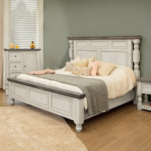 International Furniture Direct Stone Relaxed Vintage Queen Bed