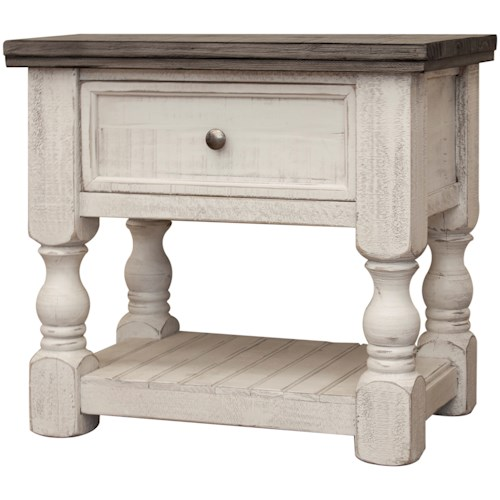 International Furniture Direct Stone Relaxed Vintage Nightstand with 1 Drawer