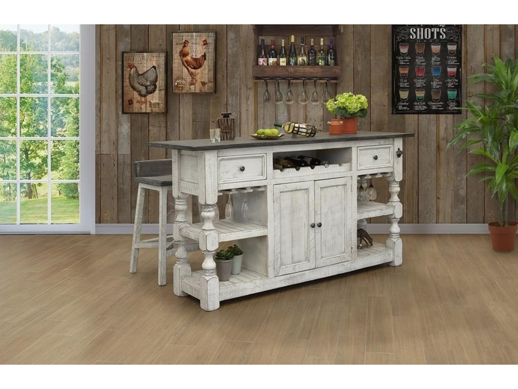 International Furniture Direct StoneBar with 2 Drawers and 2 Doors