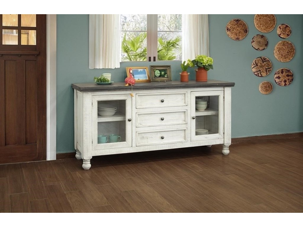 International Furniture Direct StoneBuffet with 2 Glass Doors and 3 Drawers