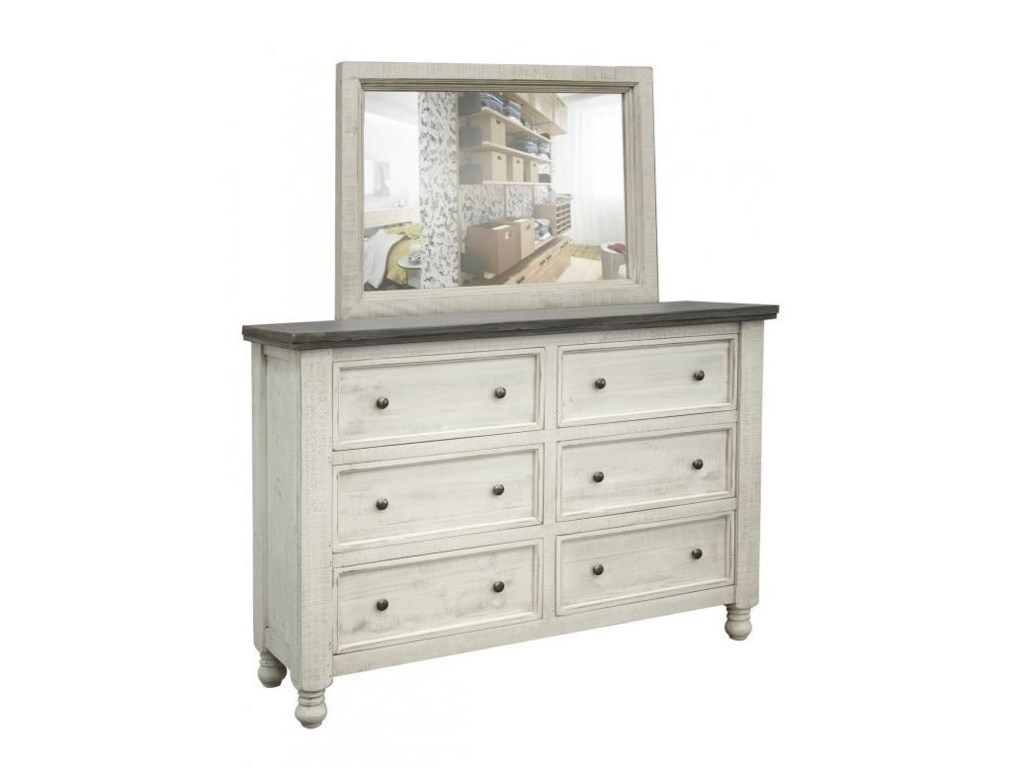 International Furniture Direct StoneDresser and Mirror Set