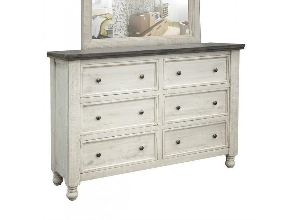International Furniture Direct Stone6 Drawer Dresser